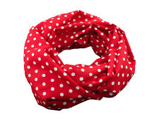 Damen-Rundschal Loop Punkte rot weiß ca. 25 cm x 140 cm