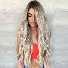 100% Real Human Hair Wig 9A Brazilian Ombre White Blonde Full Lace Front Wigs