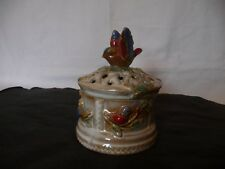 Decorative Ceramic Pottery with Bird on Top ~ Potpourri Bowl Dish