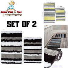 2 Piece Bath Rug Mat Bathroom Floor Tub Rugs Shower Carpet Non Slip Absorbent