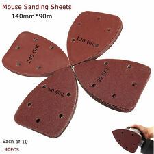 """40X 4"""" 60/80/120/240 Grit Mouse Sanding Sheets Discs Triangle Grinder Paper Pad"""