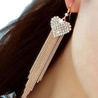 Crystal Rhinestone Earrings Dangle Women Heart Long Linear Chain Tassel Earrings