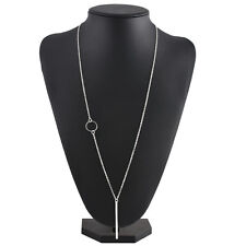 Women Silver Long Chain Lariat Drop Charm Bar Necklace Jewelry Pendant