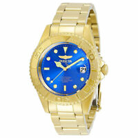 Invicta Men's Watch Pro Diver Quartz Blue Dial Yellow Gold Bracelet 29940