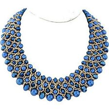 Royal Blue Faux Pearl Faceted Glass Bead Waved Chain In Between Collar Necklace