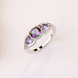 Charm Rainbow Mystic Topaz Round Gems Rings Wedding 925 Silver Jewelry Lot 6-10