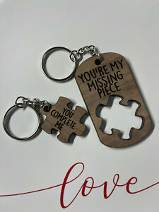 Valentine's Day, Wedding, Anniversary Gift Wood Couples Key Chain Puzzle Piece