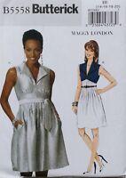 Misses Lined Dress Empire Bodice Gathered Waist Belt Butterick Pattern B5558