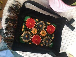 Vintage Small Velour Fora Bag W Embroidery Detail