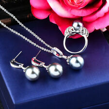 Elegant White/Gray Pearl Pendant Necklace Earrings Ring Wedding Jewelry Sets
