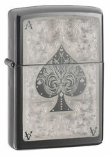 Zippo 28323, Ace of Spades, Black Ice Chrome Lighter, **6 Extra Flints & Wick**