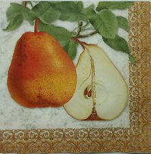 PEAR IN A BRANCH  FALL 4 single COCKTAIL SIZE paper napkins for decoupage 3-ply