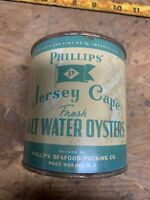 Oyster Can Phillips Fresh Salt Water New Jersey Lid Pint
