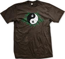 Ying Yang Pot Leaf Marijuana Weed 420 Drugs High Stoned Mens T-shirt