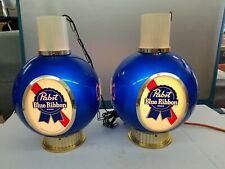 """VTG 1964 Large 17"""" Pabst Blue Ribbon Lighted Hanging Globe Bar Lights Shelf UP"""