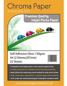 Chroma - A4 Self-Adhesive Sticker Sticky Gloss Inkjet Photo Paper 130gsm 25 Pack