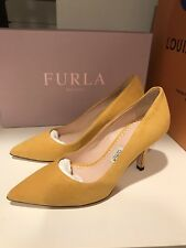 Furla Italy Opera Yellow Suede Leather Pumps Stilettos Shoes 35 / 5 new in Box