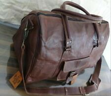 Leather Bag Triangle Duffle Travel gym weekend overnight Men's genuine Leather