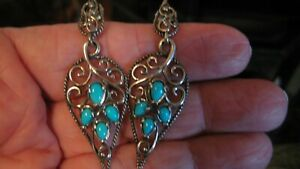 NICE CAROLYN POLLACK/RELIOS STER SILVER SLEEPING BEAUTY TURQUOISE EARRINGS