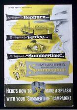 Summertime-1955 Katherine Hepburn Vintage Movie Pressbook ads poster photos