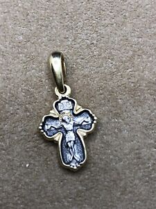 Russian Orthodox Religious Cross Gilt Solid Silver 925