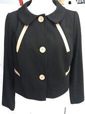 Marks & Spencer court noir veste avec Beige Bordure & Boutons Sz18