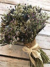 Dried Flower Wedding Bouquet Bride Bridesmaid Rustic Wheat Lavender Thistle