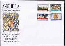 Anguilla FDC 25th anniversaire du couronnement 1978 SG320 à SG323