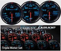 DEFI Racer Gauge Triple Gauge Set 52mm Blue (Boost/Temp/Press)