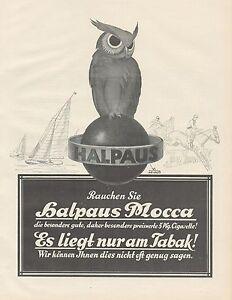 J1068 Cigarette Halpaus Mocca - Advertising Big Format - 1927 Old Advertising