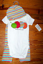 New! Boys THE CHILDREN'S PLACE 3pc White Red Blue Caterpillar Outfit 6-9 Months