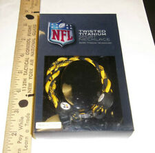 """Pittsburgh Steelers football Twisted Titanium Necklace 18"""" adult sz Black Gold"""