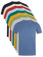 Pour Homme Hommes Uni Coton Bio Col Rond Manches Courtes T-Shirt T-SHIRT S-XXL
