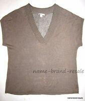 COLDWATER CREEK Womens Plus 1X 16 18 Tan Brown V-Neck SWEATER Linen Blend Vest