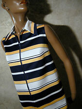 CHIC VINTAGE ROBE 1970 VTG DRESS 70s STRIPE KLEID 70er ABITO RETRO (38/40)