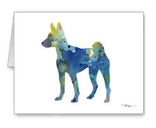 Blue Basenji note cards by watercolor artist Dj Rogers