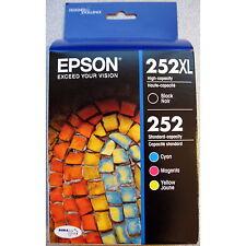 4-PACK Epson GENUINE 252XL Black & 252 Color Ink (RETAIL BOX) WORKFORCE WF-3640