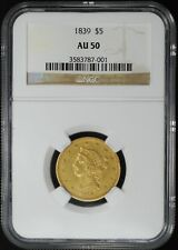 1839 $5 NO MOTTO, LIBERTY HEAD GOLD HALF EAGLE, NGC AU50, SCARCE