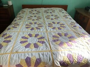"""Quilt handmade purple / yellow   98"""" x 75 very nice and clean"""