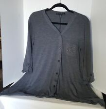 French Laundry Women's Grey Cardigan Sweater Button Up Embelished Pocket Size M