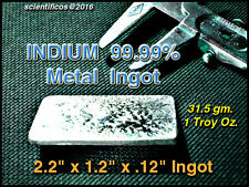 Pure Indium Metal 99.99% m.p.314°F/1 Troy Oz.=31.5gm f/lab or Non-Tox Soldering
