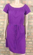 Victoria's Secret Tee Shop Smocked Purple Belted Jersey Tunic Shirt Dress M