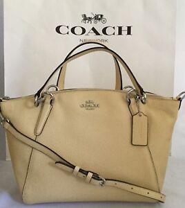 COACH Small Kelsey F31075 Pebbled Leather Shoulder Crossbody Bag SV/Vanilla NWT