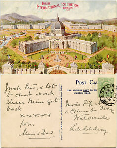 1907 IRISH WORLDS FAIR EXHIBITION PPC ARTIST CARD 2nd MAY PRE OPENING POSTMARK