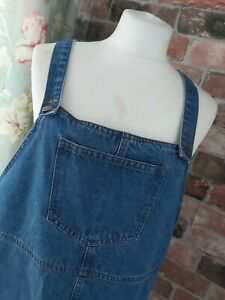 NEW LOOK BLUE DENIM DUNGAREE PINAFORE WINTER DRESS SIZE 16 (ex cond)