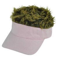 Plain Pink Brown Faux Fur Flair Hair Women Ladies Adjustable Visor Hat Sun Cap
