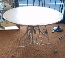 Round Shabby Chic Table Cream Pained Distressed Look French bistroTable