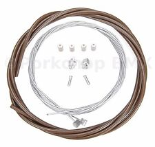 Bicycle 5mm LINED brake cable housing and hardware kit BMX MTB - CHOCOLATE BROWN