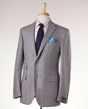 NWT $3195 SARTORIA PARTENOPEA Gray Herringbone Wool Sport Coat 44 R Slim-Fit