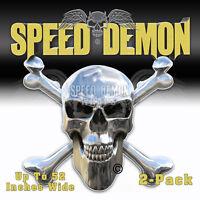 Skull Crossbones Stickers Chrome Speed Demon Toolbox Stickers Hard Hat Decals x2